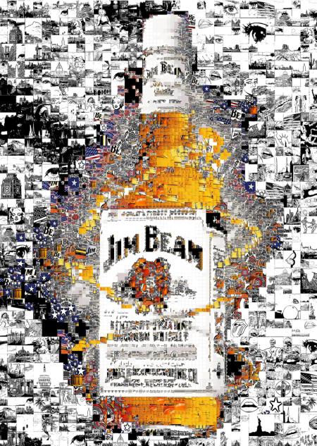 Kunst und Jim Beam, Jim Beam Kunst, Jim Beam Wandbild, Jim Beam Poster Firmenlogo, Marke, Produktionsstätte, Art, Kunst, Jubiläumsgeschenk, Geschenk, Mitarbeiter, Bild Firmenvoyer, Bild Sitzungszimmer, Kunst Sitzungszimmer, Kunst Firmenfoyer, Kunst Tagung