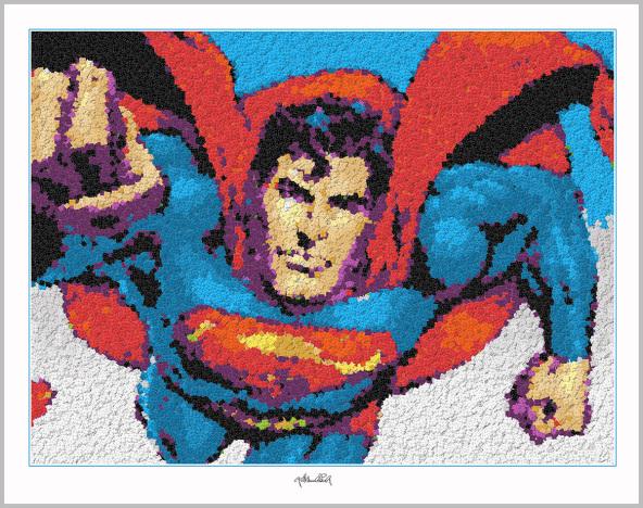Superman, Legokunstwerk, Legokunst, Kunst mit Legosteinen, Art of Brick, Lego Art, Legoart, Legokunst, Bilder aus Legosteinen