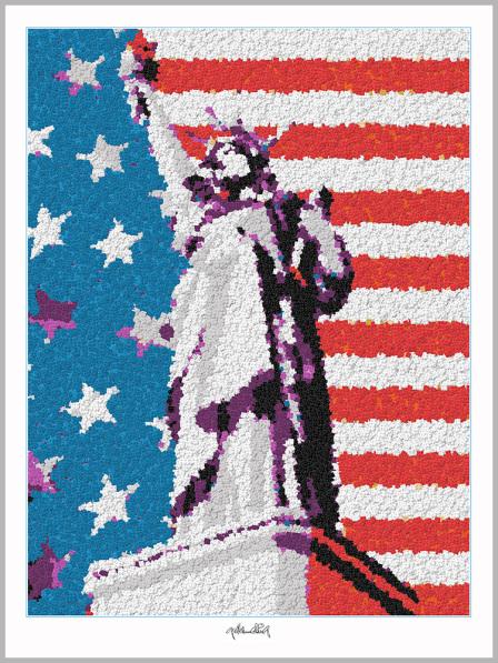 Freiheitsstatue NY, Legokunstwerk, Legokunst, Kunst mit Legosteinen, Art of Brick, Lego Art, Legoart, Legokunst, Bilder aus Legosteinen