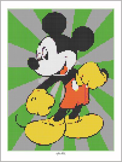 Micky Maus , Pop Art, Comic Art, Art of Bricks, Brickart, Kunst mit Lego Steinen, Legokunstwerk, Legokunst, Lego Art, Legoart, Legokunst, Bilder aus Legosteinen