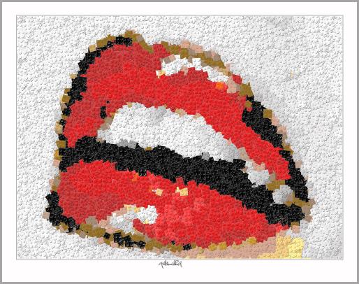 LRoter Mund, rote Lippen, schöne Zähne, Zahnkunst, Zahnarzt, Pop Art, Comic Art, Art of Bricks, Brickart, Kunst mit Lego Steinen, Legokunstwerk, Legokunst, Lego Art, Legoart, Legokunst, Bilder aus Legosteinen