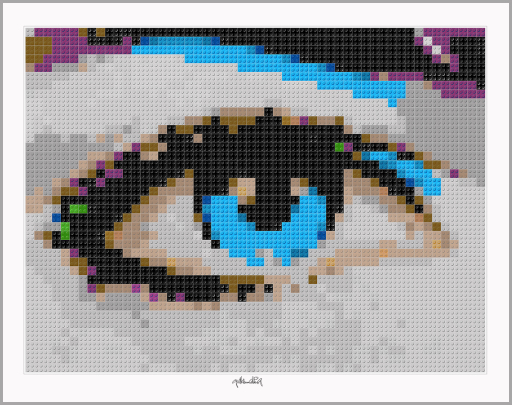 Augenarzt, Praxis Augenarzt, Kunst Auge, Wartezimmer, Pop Art, Comic Art, Art of Bricks, Brickart, Kunst mit Lego Steinen, Legokunstwerk, Legokunst, Lego Art, Legoart, Legokunst, Bilder aus Legosteinen