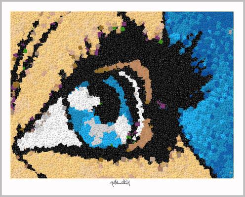 Blaue Augen, Augen, Augenarzt, Pop Art, Comic Art, Art of Bricks, Brickart, Kunst mit Lego Steinen, Legokunstwerk, Legokunst, Lego Art, Legoart, Legokunst, Bilder aus Legosteinen