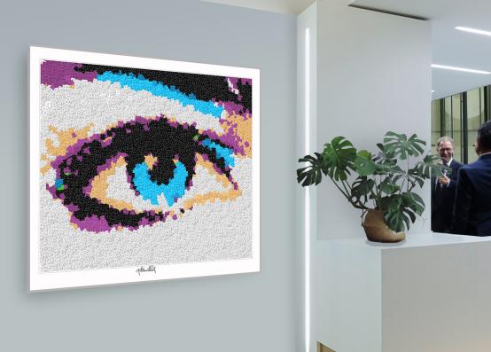 lange Wimpern, Blaue Augen, Pop Art, Comic Art, Art of Bricks, Brickart, Kunst mit Lego Steinen, Legokunstwerk, Legokunst, Lego Art, Legoart, Legokunst, Bilder aus Legosteinen