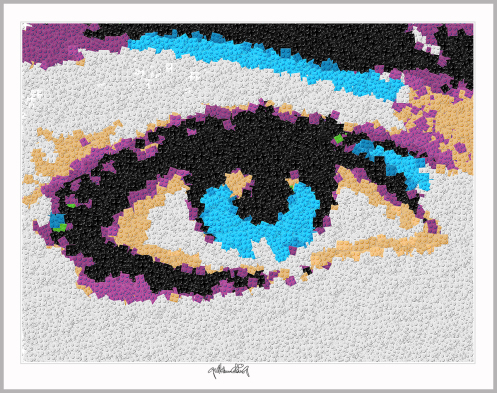 Blaue Augen, Lange Wimpern, Kunstbild Auge, Augenarztpraxis, Pop Art, Comic Art, Art of Bricks, Brickart, Kunst mit Lego Steinen, Legokunstwerk, Legokunst, Lego Art, Legoart, Legokunst, Bilder aus Legosteinen