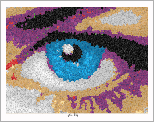Blaue Augen, Lange Wimpern, Kunstbild Auge, Augenarztpraxis, Ausstellung Augen