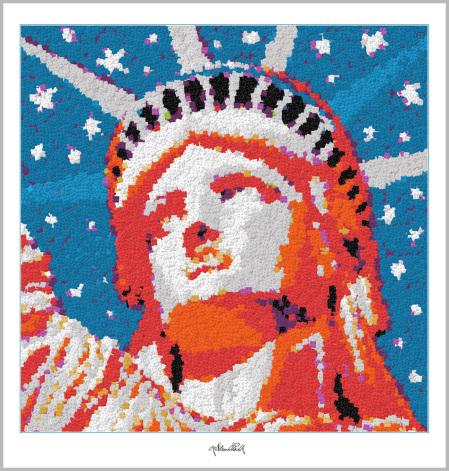 Freiheitsstatue NY , Pop Art, Comic Art, Art of Bricks, Brickart, Kunst mit Lego Steinen, Legokunstwerk, Legokunst, Lego Art, Legoart, Legokunst, Bilder aus Legosteinen