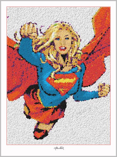 Supergirl, Pop Art, Comic Art, Art of Bricks, Brickart, Kunst mit Lego Steinen, Legokunstwerk, Legokunst, Lego Art, Legoart, Legokunst, Bilder aus Legosteinen