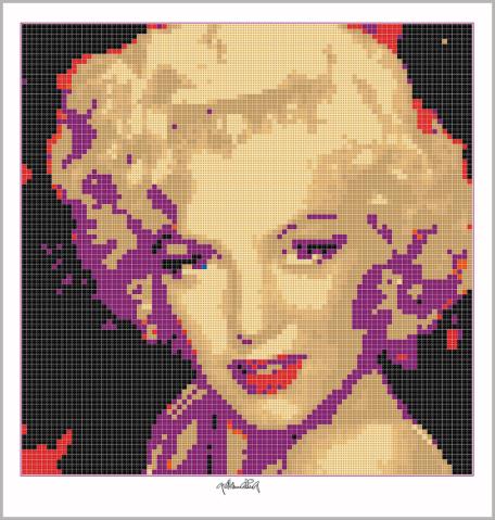 Portrait, Marilyn Monroe, Art of Brick, Marilyn Wandbild, Lego Art, Legoart, Lego, kunst, Kunst mit LegosteinenKunst mit Lego Steinen, Art of Brick, Portrait Marilyn Monroe