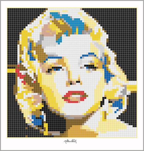 MM, Marilyn, Kunst mit Lego Steinen, Art of Brick, Marilyn Wandbild, Lego Art, Legoart, Legokunst, Kunst mit Legosteinen, Brick Art, Portrait Marilyn Monroe