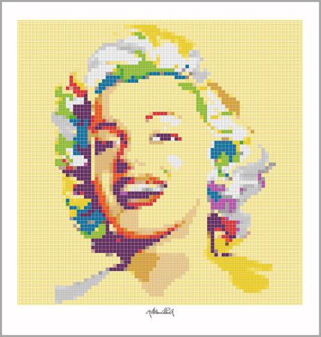 Kunst mit Lego Steinen, Art of Brick, Portrait Marilyn Monroe
