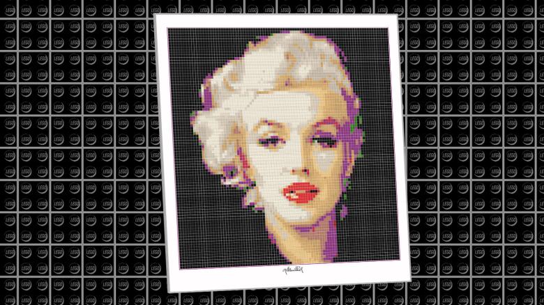 Portrait, Marilyn Monroe, Art of Brick, Marilyn Wandbild, Lego Art, Legoart, Legokunst, Kunst mit Legosteinen,Kunst mit Lego Steinen, Art of Brick,