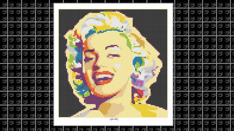 Marilyn Wandbild, Lego Art, Legoart, Legokunst, Kunst mit Legosteinen, Portrait Marilyn Monroe, Wandbild