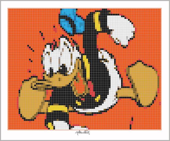 Donald Duck,  Pop Art, Comic Art, Art of Bricks, Brickart, Kunst mit Lego Steinen, Legokunstwerk, Legokunst, Lego Art, Legoart, Legokunst, Bilder aus Legosteinen