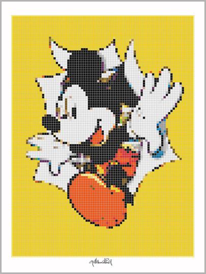 Micky Maus, Pop Art, Comic Art, Art of Bricks, Brickart, Kunst mit Lego Steinen, Legokunstwerk, Legokunst, Lego Art, Legoart, Legokunst, Bilder aus Legosteinen