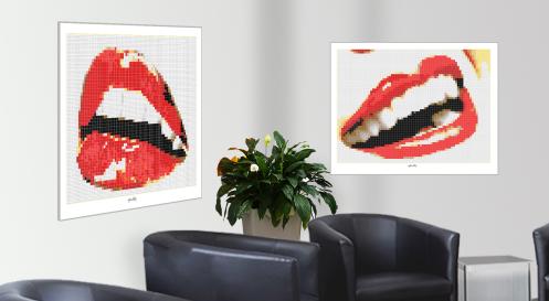 Roter Mund, rote Lippen, schöne Zähne, Zahnkunst, Zahnarzt, Pop Art, Comic Art, Art of Bricks, Brickart, Kunst mit Lego Steinen, Legokunstwerk, Legokunst, Lego Art, Legoart, Legokunst, Bilder aus Legosteinen