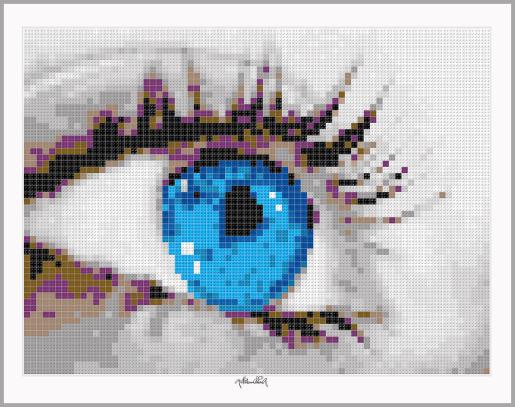 Blaue Augen, Schöne Augen, Tolle Wimpern, Pop Art, Comic Art, Art of Bricks, Brickart, Kunst mit Lego Steinen, Legokunstwerk, Legokunst, Lego Art, Legoart, Legokunst, Bilder aus Legosteinen