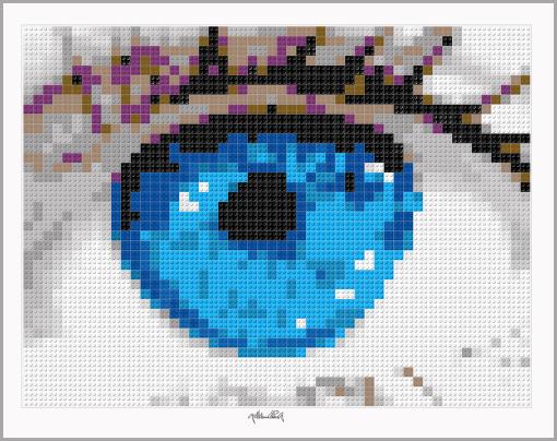 Kunst und Auge, Augenkunst, Pupille, Pop Art, Comic Art, Art of Bricks, Brickart, Kunst mit Lego Steinen, Legokunstwerk, Legokunst, Lego Art, Legoart, Legokunst, Bilder aus Legosteinen