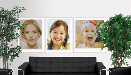 Kinderportrait, Lego Art, Legoart, Legokunst, Kunst mit Legosteinen