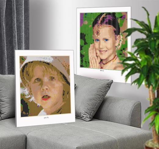 Kinderportrait, Kinderfotografie, Lego Art, Legoart, Legokunst, Kunst mit Legosteinen