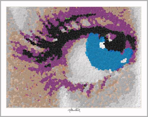 Blaue Augen, Lange Wimpern, Wandbild Auge, Augenarztpraxis, Pop Art, Comic Art, Art of Bricks, Brickart, Kunst mit Lego Steinen, Legokunstwerk, Legokunst, Lego Art, Legoart, Legokunst, Bilder aus Legosteinen