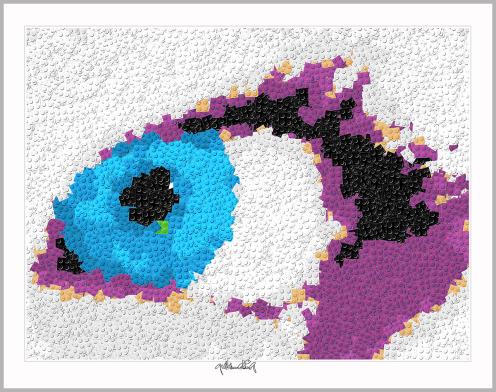 Blaue Augen, Einrichtung Augenarztpraxis, Pop Art, Comic Art, Art of Bricks, Brickart, Kunst mit Lego Steinen, Legokunstwerk, Legokunst, Lego Art, Legoart, Legokunst, Bilder aus Legosteinen
